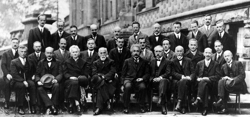 Marie Curie Sits Among Many Male Scientists
